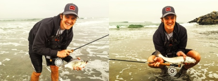 A nice barred surf perch and corbina caught and released on an orange beach bug by San Diego angler Andrew Dickinson of Hatch Outdoors! Way to go Andrew!