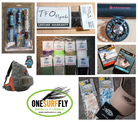 Some of the many great raffle items offered this year at the One Surf Fly 2014 raffle to benefit The Land Trust of Santa Barbara County.