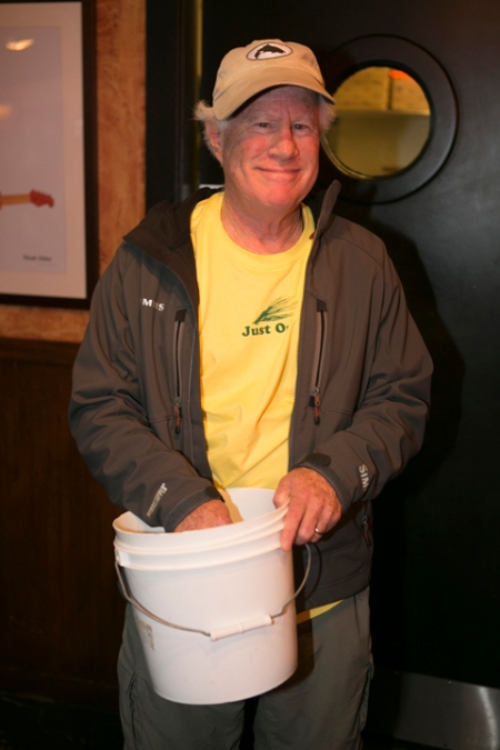 Jim Solomon working the raffle bucket. photo by Jorge Salas