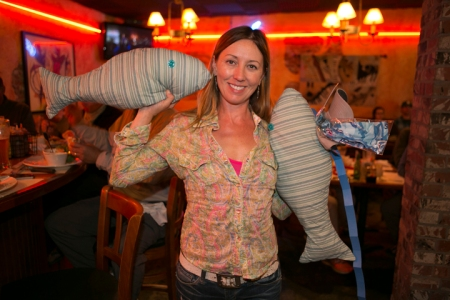 Kristina wins Al Q's wife Janet's custom pillows. photo by Jorge Salas