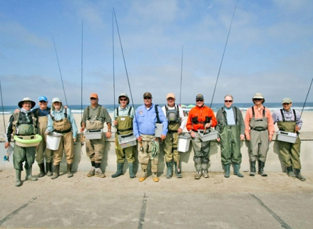 The Southbay Fly fishers conquer the raffle. photo by Michael Schweit